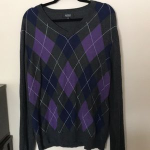 Express cotton and Merino wool argyle sweater